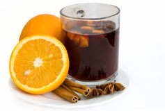 Christmas hot wine with oranges. Over white background stock images