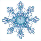 Christmas hours in a beautiful snowflake. Stock Image