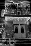 Christmas house. Christmas  house and lights. Black and white Royalty Free Stock Photos