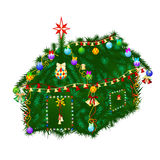 Christmas house. House of fir twigs, decorated for Christmas Royalty Free Stock Photos