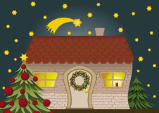 Christmas House. Festively decorated house and Christmas tree Stock Images