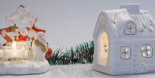 Christmas house. Decored christmas house with candlelight royalty free stock photo