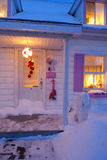 Christmas house. With snow and red skate royalty free stock photos