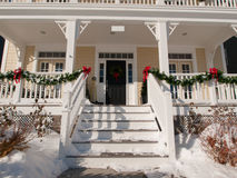 Christmas House. House decorated for winter holidays Royalty Free Stock Image
