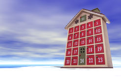Christmas House. A Christmas house counting the days to Christmas in a winter background Stock Photography