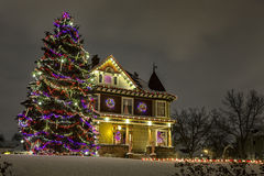 Christmas House. A beautifully decorated home ready for the holiday season Stock Images