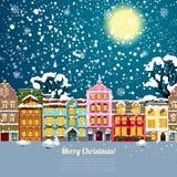Christmas house background. Vector illustration Stock Photos