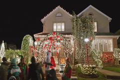 Christmas house in Brooklyn New York royalty free stock photography