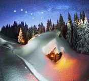 Christmas House in the Carpathians stock images