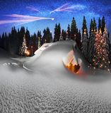 Christmas House in the Carpathians stock illustration