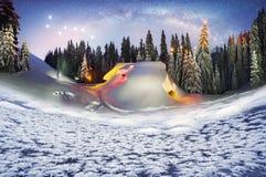 Christmas House in the Carpathians stock photos