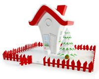 Christmas House with Clipping Path Royalty Free Stock Photos