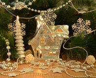 Christmas house with conifer 2 Stock Photography