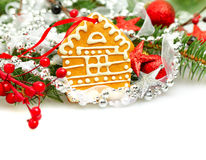 Christmas house from cookie and Xmas decor Stock Photography