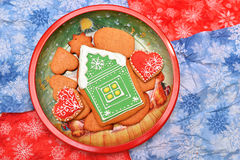 Christmas house cookies. New year cookies in dish,red, green, blue Stock Image