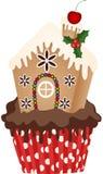 Christmas House Cupcake Stock Photo