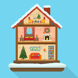 Christmas house in cut with snow. Royalty Free Stock Photos