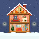 Christmas house in cut with snow. Stock Image