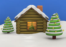 Christmas House - 3D. Christmas House with tree and snow Royalty Free Stock Photography