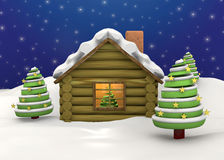 Christmas House - 3D. Christmas House with tree and snow Royalty Free Stock Images