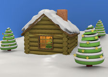 Christmas House - 3D. Christmas House with tree and snow Stock Photography