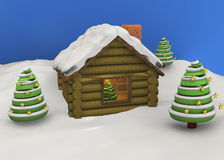 Christmas House - 3D. Christmas House with tree and snow Royalty Free Stock Photos