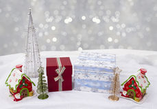 Christmas house decorated with multicolored glaze or background Royalty Free Stock Photo