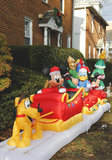 Christmas house decoration. BROOKLYN, NY - DECEMBER 15: Colorful Christmas house decoration with cartoon characters in Brooklyn on December 15, 2013 Stock Photos