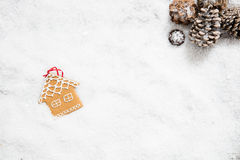 Christmas house decoration on December winter snowy wallpaper, top view Royalty Free Stock Photos