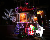Free Christmas House Decoration Lights Display In Brooklyn Royalty Free Stock Image - 64105036