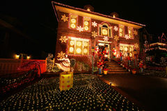 Free Christmas House Decoration Lights Display In Brooklyn Stock Image - 64105041