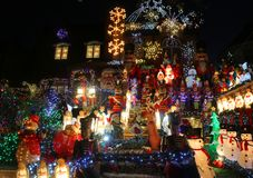 Free Christmas House Decoration Lights Display In The Suburban Brooklyn Neighborhood Of Dyker Heights Royalty Free Stock Images - 104898899