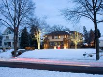 Christmas house at dusk in Minneapolis Stock Photos