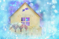 Christmas holiday desine on a fabulous winter background royalty free stock photo