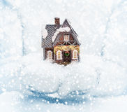 Christmas house in female hands Royalty Free Stock Images