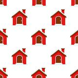 Christmas House Flat Icon Seamless Pattern Stock Photo