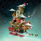 Christmas House. Holiday greeting card or poster with hurtling Christmas fantasy house with gifts. Computer graphics vector illustration