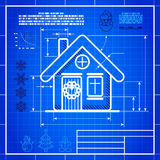 Christmas house icon like blueprint drawing. Christmas symbol stylized blueprint technical drawing. White symbol on blue grid background Stock Photography