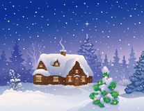 Christmas house. Illustration of a snowy Christmas cottage and decorated small fir tree Royalty Free Stock Photo