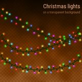 Christmas house lights on a transparent background. Luminous garlands for greeting cards, invitations and gift cards royalty free illustration