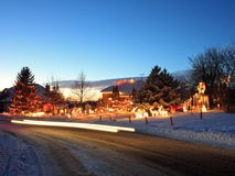 Christmas house in Minnesota with traffic lights royalty free stock photos