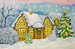 Christmas house, painting Stock Photo