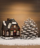 Christmas house and pine Royalty Free Stock Images