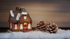 Christmas house and pine cone in the snow Royalty Free Stock Photos