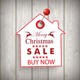 Christmas House Price Sticker Wood Pin Stock Image