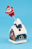 Christmas house santa decoration blue Royalty Free Stock Photo