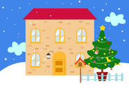 Christmas house in snow. Illustration of house in snow Royalty Free Stock Photos