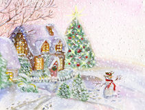 Christmas house with snowman Stock Images