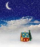 Christmas house under blue sky. Christmas festive light in house under blue sky Royalty Free Stock Photos