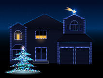 Christmas house. Vector illustration of decorated house with lights, christmas tree and david star, eps 10 file, gradient mesh and transparency used Stock Photos